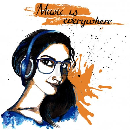 Illustration for Smiling hipster character girl with glasses and headphones ink drawn music background vector illustration. - Royalty Free Image