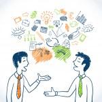 Doodle business conversation sketch concept with b...