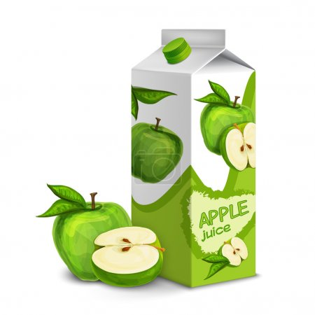 Juice carton box pack 3d with whole and cut apple ...