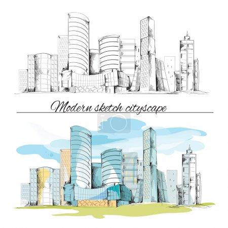 Illustration for Modern urban sketch building hand drawn cityscape set vector illustration - Royalty Free Image