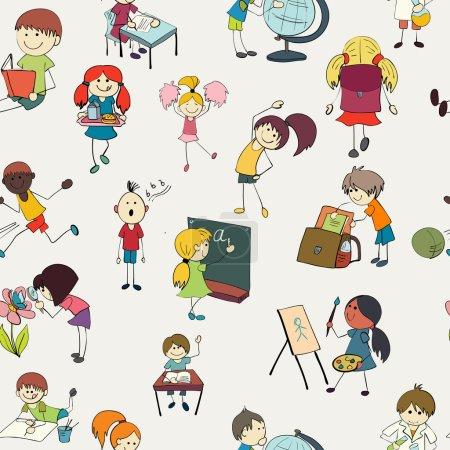Illustration pour Les écolières et les garçons étudiant la chimie botanique et les activités de gymnase croquis de gribouillage coloré illustration vectorielle de modèle sans couture - image libre de droit