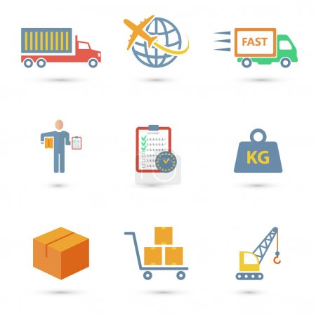 Illustration for Logistic freight service icons set of truck worldwide shipping fast delivery isolated vector illustration - Royalty Free Image