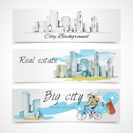 Illustration pour Moderne urbain grande ville design abstrait bannières horizontales ensemble illustration vectorielle - image libre de droit