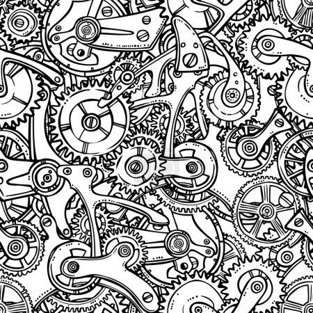 Illustration for Sketch grunge cogwheel gears mechanisms seamless pattern vector illustration - Royalty Free Image