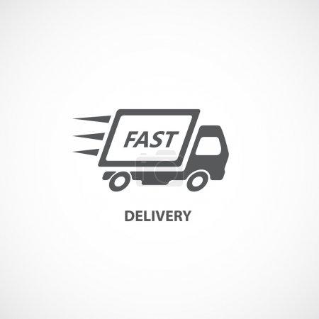 Illustration pour Silhouette d'icône livraison rapide livraison camion isolée sur illustration vectorielle fond blanc - image libre de droit