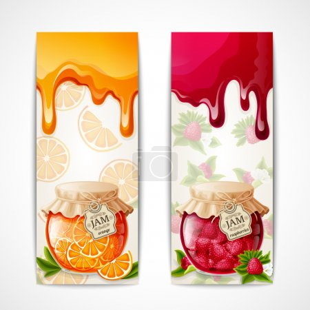 Illustration for Natural organic orange and raspberry berries jam glass jar vertical banners isolated vector illustration - Royalty Free Image
