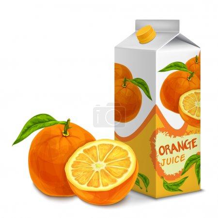 Illustration pour Boîte en carton de jus pack 3d avec illustration vectorielle isolée orange douce coupée - image libre de droit