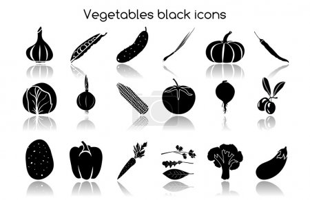 Vegetables black icons