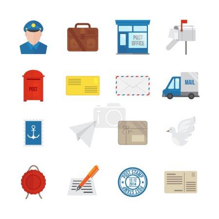 Illustration pour Icône de service postal ensemble plat avec enveloppe de messagerie de livraison et colis isolés illustration vectorielle - image libre de droit