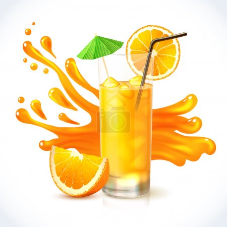 Illustration pour Jus de vitamine orange en verre avec illustration vectorielle d'emblème de paille et de parapluie cocktail - image libre de droit