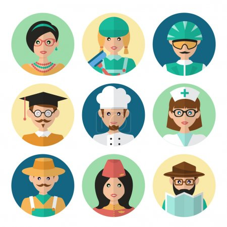 Photo for Faces avatar icons profession occupation job set flat isolated vector illustration - Royalty Free Image