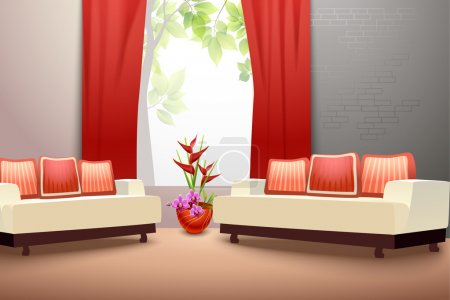 Illustration for Interior indoor living room design with couch vase and window curtains vector illustration - Royalty Free Image
