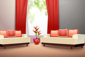 Interior indoor living room design with couch vase and window curtains vector illustration