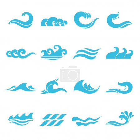 Illustration for Waves flowing water sea ocean icons set isolated vector illustration - Royalty Free Image