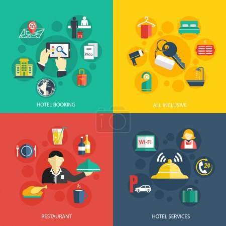 Illustration for Hotel accommodation services concept flat icons set of room booking business trip restaurant food and reception bell for infographics design web elements vector illustration - Royalty Free Image