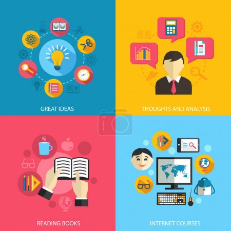 Illustration for Education learning concept flat icons set of great ideas books reading e-learning internet courses and research for infographics design web elements vector illustration - Royalty Free Image
