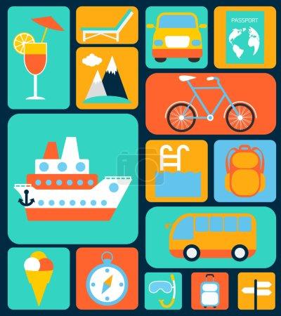 Illustration for Travel tourism holiday vacation flat decorative icons set isolated vector illustration - Royalty Free Image