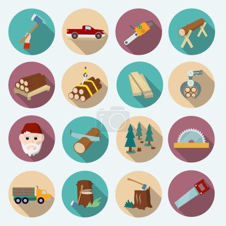 Illustration pour Coupe-bois bûcheron icônes plates ensemble d'outils de travail de hache illustration vectorielle isolée - image libre de droit