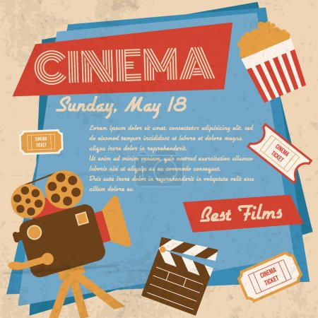 Illustration for Retro movie cinema vintage best films poster vector illustration - Royalty Free Image