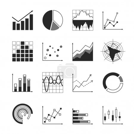 Illustration for Business charts diagrams and graphs icons set isolated vector illustration - Royalty Free Image