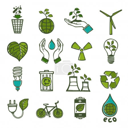 Illustration for Ecology and waste colored icons set of global environment energy and recycling isolated vector illustration - Royalty Free Image