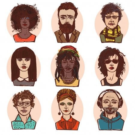 Sketch people portraits colored set