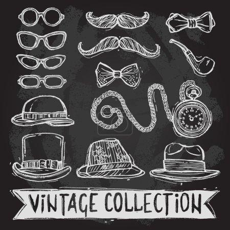 Vintage hats and glasses set