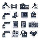 Immobilien schwarz Icons