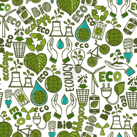 Illustration for Ecology and waste global conservation colored seamless pattern vector illustration - Royalty Free Image