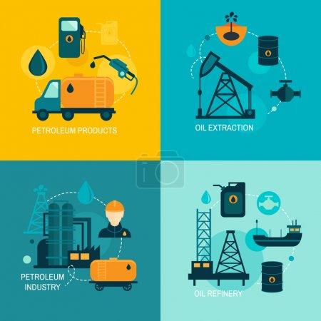 Illustration pour Concept d'affaires de l'industrie pétrolière de la production d'essence diesel distribution et transport de carburant quatre icônes composition illustration vectorielle - image libre de droit