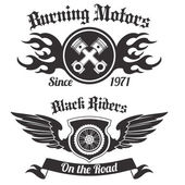 Motorcycle grunge black riders burning motors labels set isolated vector illustration