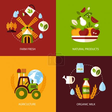 Illustration for Farm fresh natural products organic agriculture food icons set isolated vector illustration. - Royalty Free Image