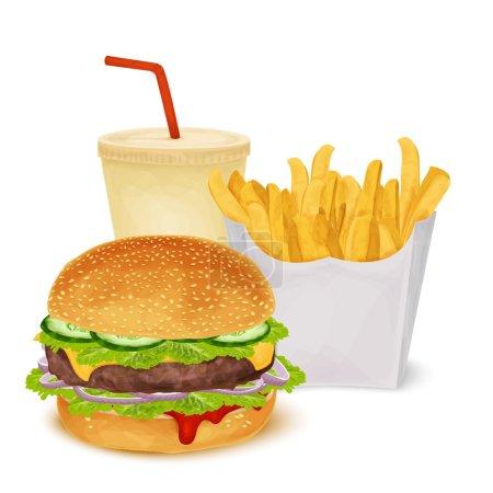 Illustration pour Ensemble de restauration rapide de frites de hamburger et de boissons isolées sur fond blanc illustration vectorielle - image libre de droit