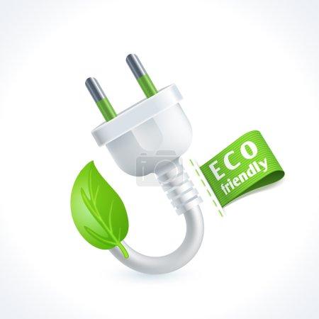 Illustration pour Symbole écologique et fiche de déchets avec étiquette écologique isolée sur fond blanc illustration vectorielle - image libre de droit
