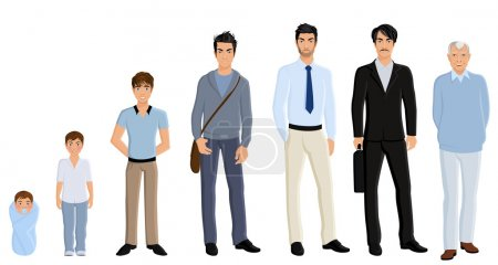 Illustration for Different generation aging men set isolated on white background vector illustration - Royalty Free Image