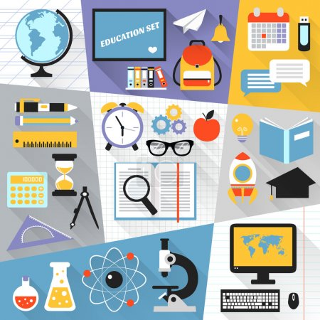 Illustration for School stationery education science e-learning flat set isolated vector illustration - Royalty Free Image