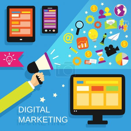 Illustration for Digital marketing concept with mobile gadgets and business icons set vector illustration. - Royalty Free Image