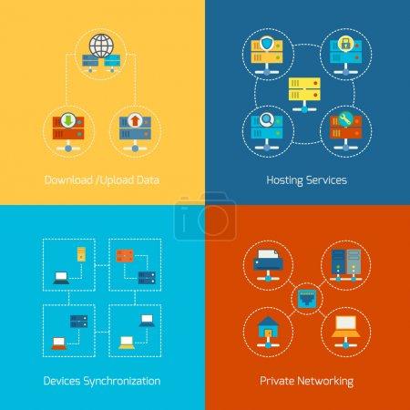 Illustration pour Concept d'entreprise icônes plates ensemble d'hébergement réseau informatique technologie Internet infographie éléments de conception illustration vectorielle - image libre de droit