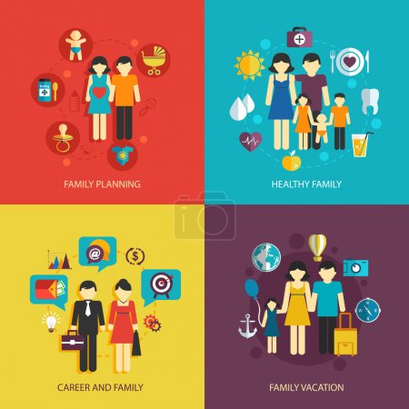 Illustration for Business concept flat icons set of family planning health career and vacation infographic design elements vector illustration - Royalty Free Image