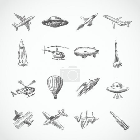 Illustration for Aircraft helicopter military aviation airplane sketch icons set isolated vector illustration - Royalty Free Image
