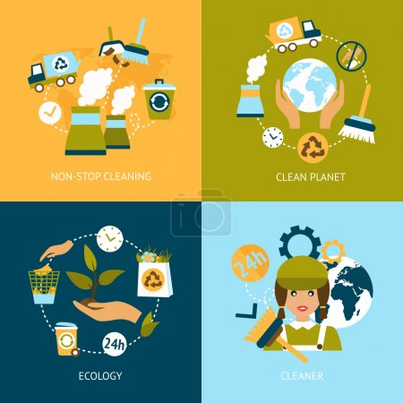 Illustration for Business concept flat icons set of ecology non stop planet cleaning green elements infographic design elements vector illustration - Royalty Free Image