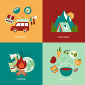 Business concept flat icons set of camping area adventure food and drink infographic design elements vector illustration