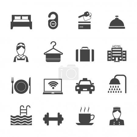 Illustration for Hotel business accommodation elements black icons isolated vector illustration - Royalty Free Image