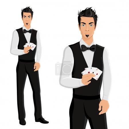 Illustration pour Beau jeune homme casino concessionnaire avec des cartes portrait isolé sur fond blanc illustration vectorielle - image libre de droit