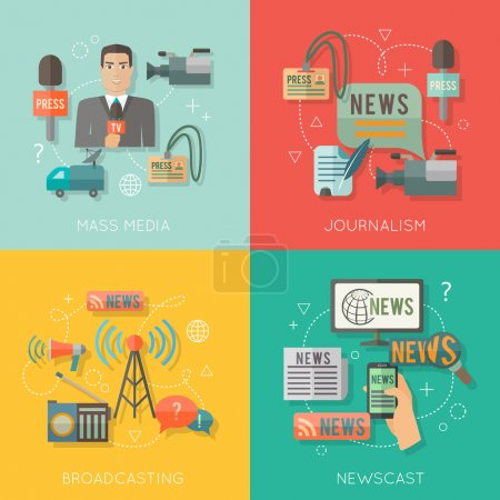 Mass media concept flat business composition