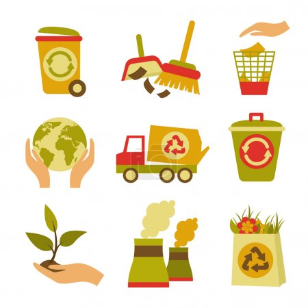 Illustration for Ecology and waste colored icons set of trash can globe plant isolated vector illustration - Royalty Free Image