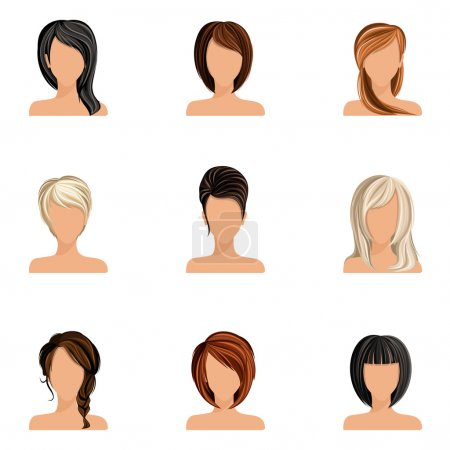 Illustration for Young woman girl head avatars set with haircut styles isolated vector illustration - Royalty Free Image
