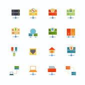 Hosting computer network flat icons set with file dashboard infrastructure elements isolated vector illustration