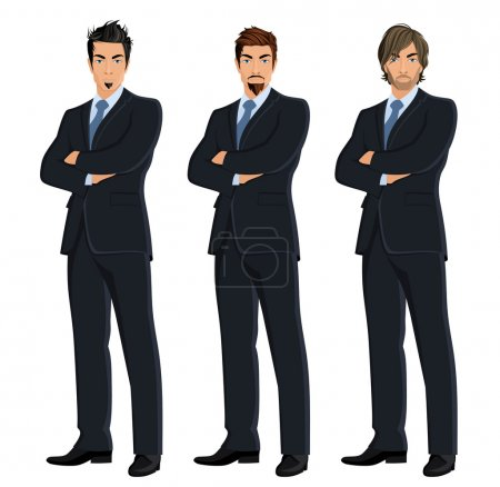 Illustration for Set of full length body business man isolated on white background vector illustration - Royalty Free Image