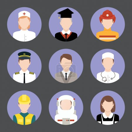 Photo pour Avatar utilisateurs professionnels icônes plates ensemble d'étudiants diplômés ingénieur astronaute illustration vectorielle isolée - image libre de droit